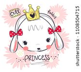 cute princess rabbit girl... | Shutterstock .eps vector #1108504715