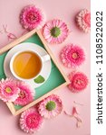 spring flowers and tea cup...   Shutterstock . vector #1108522022
