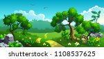 forest with flowers and trees.... | Shutterstock .eps vector #1108537625