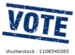 square grunge blue vote stamp | Shutterstock .eps vector #1108540385