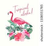 tropical slogan with flamingo... | Shutterstock .eps vector #1108551785
