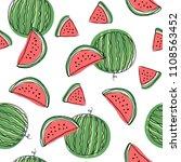 watermelon slices seamless... | Shutterstock . vector #1108563452