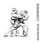vector sketch competing judo | Shutterstock .eps vector #1108580828