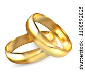 two realistic wedding rings...   Shutterstock .eps vector #1108592825