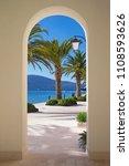 walkway to the sea. sunny...   Shutterstock . vector #1108593626