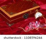 a handmade mahogany casket with ...   Shutterstock . vector #1108596266