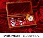 a handmade mahogany casket with ...   Shutterstock . vector #1108596272