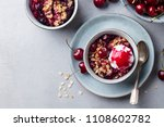 cherry  red berry crumble with... | Shutterstock . vector #1108602782