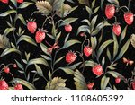 floral wallpaper. strawberry... | Shutterstock . vector #1108605392