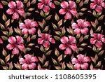 floral wallpaper. hibiscus... | Shutterstock . vector #1108605395