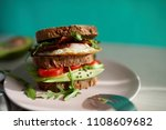 avocado on toast with eggs and... | Shutterstock . vector #1108609682