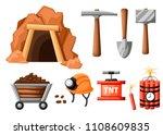 mining icon set. cartoon mine... | Shutterstock .eps vector #1108609835