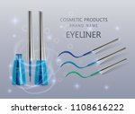 liquid eyeliner  set of blue... | Shutterstock .eps vector #1108616222