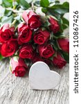 valentines day with roses and heart - stock photo
