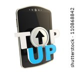 Top-up glossy blue and chrome metal emblem icon over smart mobile phone concept isolated on white - stock photo
