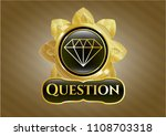 gold emblem with diamond icon... | Shutterstock .eps vector #1108703318