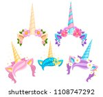 collection of unicorn tiaras... | Shutterstock .eps vector #1108747292