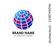 3d digital globe logo design.... | Shutterstock .eps vector #1108749596