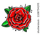 rose illustration on white... | Shutterstock . vector #1108754195