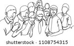 crowd of people. one line | Shutterstock .eps vector #1108754315