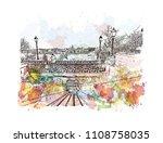 landmark with building view of... | Shutterstock .eps vector #1108758035