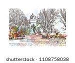 landmark with building view of... | Shutterstock .eps vector #1108758038
