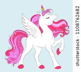 white girl unicorn with pink... | Shutterstock .eps vector #1108762682