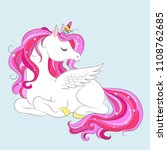 white girl unicorn with pink... | Shutterstock .eps vector #1108762685