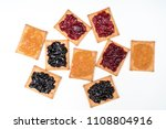 some dry biscuits with jam on a ... | Shutterstock . vector #1108804916