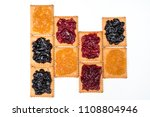 some dry biscuits with jam on a ... | Shutterstock . vector #1108804946