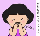 a young girl sneezing achoo...
