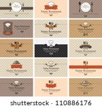 set of business cards on food | Shutterstock .eps vector #110886176