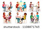 friends in cafeteria  cafe... | Shutterstock .eps vector #1108871765
