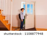 preteen boy coming back home... | Shutterstock . vector #1108877948