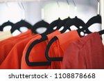 women clothing on hangers in a... | Shutterstock . vector #1108878668