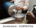 chef is pouring liquid nitroden ... | Shutterstock . vector #1108903766