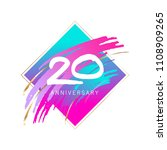20th anniversary. pink and gold ... | Shutterstock .eps vector #1108909265