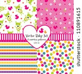 vector set of 4 seamless baby... | Shutterstock .eps vector #110891615