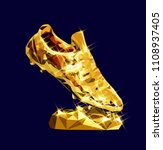 3d golden soccer shoe boot... | Shutterstock .eps vector #1108937405
