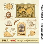 set sea  label and vintage... | Shutterstock .eps vector #110893952