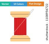 sewing reel with thread icon.... | Shutterstock .eps vector #1108956722