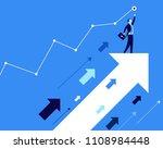 businessmen standing on arrows... | Shutterstock . vector #1108984448