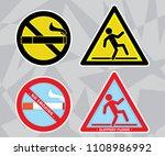 slippery floor and no smoking...   Shutterstock .eps vector #1108986992