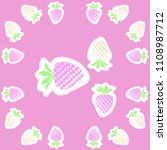 strawberry  halftone pattern ... | Shutterstock . vector #1108987712