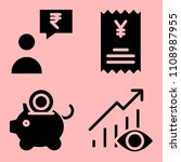 business icons set of paid  ux...