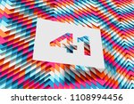 white papercut number 41 on the ... | Shutterstock . vector #1108994456