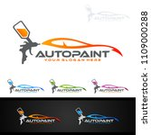 car painting logo with spray... | Shutterstock .eps vector #1109000288