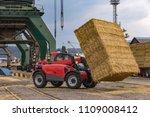 telescopic handler unloading... | Shutterstock . vector #1109008412