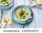 creamy seafood stew garnished... | Shutterstock . vector #1109012072