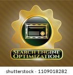 gold badge with certificate... | Shutterstock .eps vector #1109018282